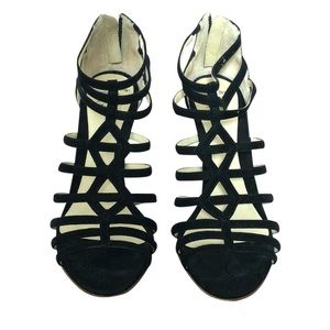 Black Suede Caged Sandals Patina Wedges